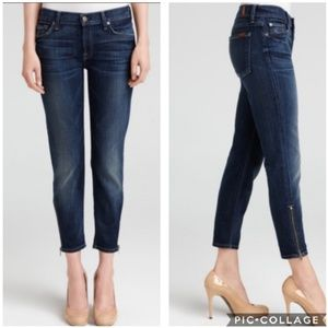 7 For All Mankind Crop Skinny Zip Ankle Jeans, 29